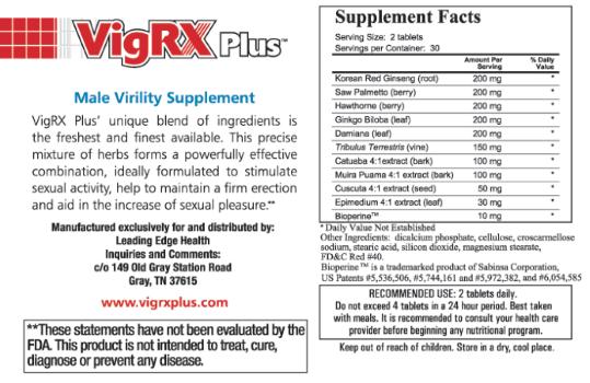 VigRXPlus-ingredientes de la etiqueta